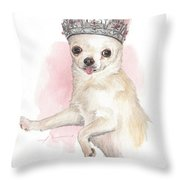 Chihuahua Princess Watercolor Portrait Throw Pillow