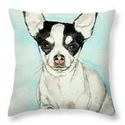 Chihuahua White With Black Spots Throw Pillow