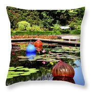 Chihuly Ball Lily Pond Throw Pillow