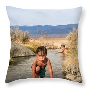 Child And Mother Playing In Hot Springs Throw Pillow
