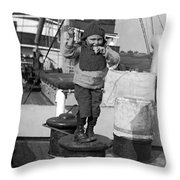Child Arriving At Ellis Island Throw Pillow