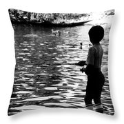 Child Fishing Throw Pillow