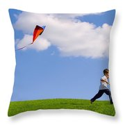Child Flying A Kite Throw Pillow