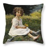 Child In The Meadow Throw Pillow