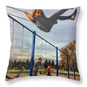 Child On Swing Throw Pillow