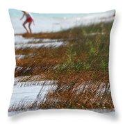 Child Playing On The Beach Mackinaw City Throw Pillow