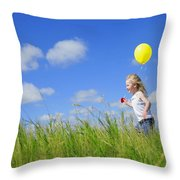 Child Running With A Balloon Throw Pillow
