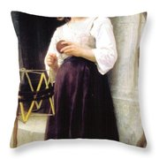 Child With A Ball Of Wool Throw Pillow