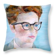 Child With Glasses Throw Pillow