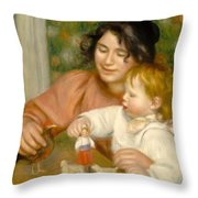 Child With Toys Gabrielle And The Artist S Son Jean Throw Pillow by Pierre Auguste Renoir