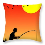 Childhood Dreams 3 Fishing Throw Pillow