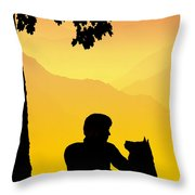 Childhood Dreams 4 Best Friends Throw Pillow by John Edwards