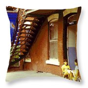 Childhood Dreams Montreal Memories Best Friends Forever Balloons At The Cornerstore Carole Spandau  Throw Pillow