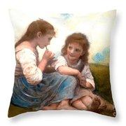 Childhood Idyllic By Bouguereau Throw Pillow