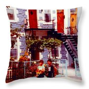 Childhood Montreal Memories Balconies And Bikes The Boys Of Summer Our Streets Tell Our Story Throw Pillow