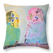 Childhood Parakeets Throw Pillow