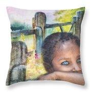 Childhood Triptic Throw Pillow