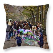 Children And Big Bubbles Throw Pillow