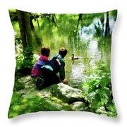 Children And Ducks In Park Throw Pillow