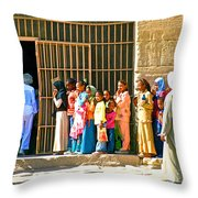 Children And Tourists At Entry To Temple Of Hathor In Dendera-egypt Copy Throw Pillow by Ruth Hager