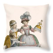 Children At Play, Engraved By Patas Throw Pillow