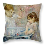 Children At The Basin Throw Pillow