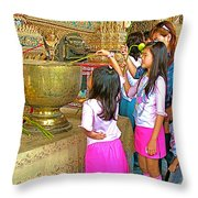Children Bring Lotus Flowers To Royal Temple At Grand Palace Of Thailand Throw Pillow