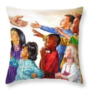 Children Coming To Jesus Throw Pillow