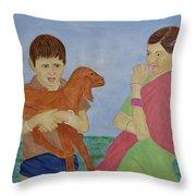 Children In Indian Village Throw Pillow