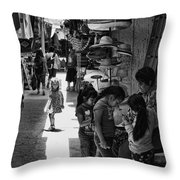 Children In The Rosarito Art Shops Throw Pillow