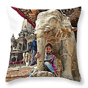 Children Love The Elephants In Patan Durbar Square In Lalitpur-nepal Throw Pillow