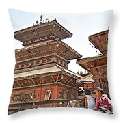 Children On Pagodas In Bhaktapur Durbar Square In Bhaktapur-nepal Throw Pillow