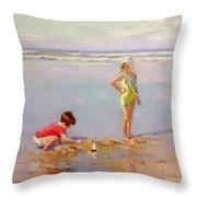 Children On The Beach Throw Pillow