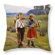 Children On The Way Home Throw Pillow