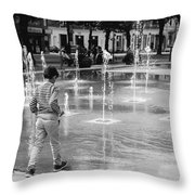 Children Play By Fountain Throw Pillow