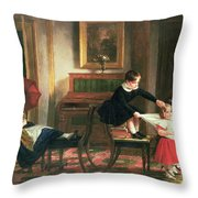 Children Playing At Coach And Horses Throw Pillow by Charles Robert Leslie