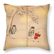 Children Playing In Summer And Winter Throw Pillow