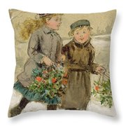 Children Playing In The Snow  Throw Pillow