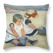 Children Playing On The Beach Throw Pillow