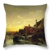 Children Playing On The Ice Throw Pillow by Desire Tomassin