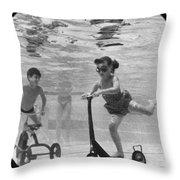Children Playing Under Water Throw Pillow