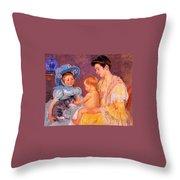 Children Playing With A Cat Throw Pillow by Marry Cassatt