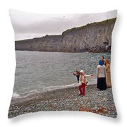 Children Throwing Capelin Back Into The Ocean At Middle Cove-nl Throw Pillow