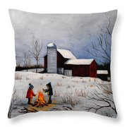 Children Warming Up By The Fire Throw Pillow