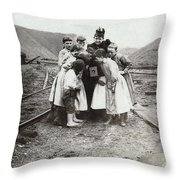 Children With Camera, C1900 Throw Pillow