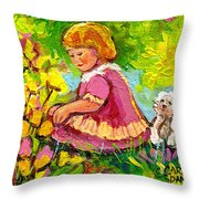 Children's Art - Little Girl With Puppy - Paintings For Children Throw Pillow