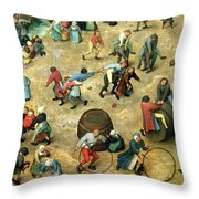 Childrens Games Kinderspiele Detail Of Bottom Section Showing Various Games, 1560 Oil On Panel Throw Pillow