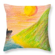 Child's Hand Drawing Of Sea And Mountain Landscape With Crayons Throw Pillow