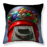 Childs View Of The Gumball Machine Throw Pillow by Allan Swart
