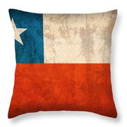Chile Flag Vintage Distressed Finish Throw Pillow